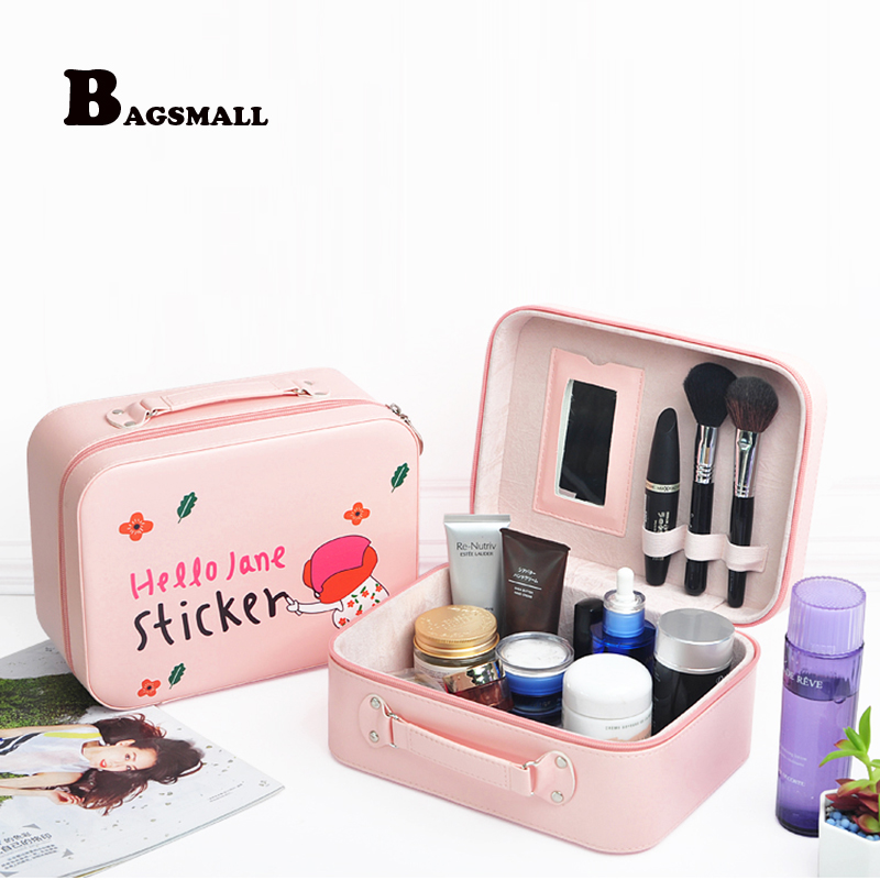 BAGSMALL Women Makeup bag Cosmetic Bag with Mirror Case Cute Make Up Organizer Toiletry Bag Travel Kits Storage Wash Pouch ttou fashion barrel shaped cosmetic bag trip beauty women travel toiletry kit make up makeup case bag wash bags organizer