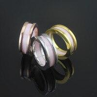 Wholelsale marke Titan Stahl Einfache Rosa Keramik schmale Ringe Für frauen männer bulgarien Die Schmucksachen, Qualität