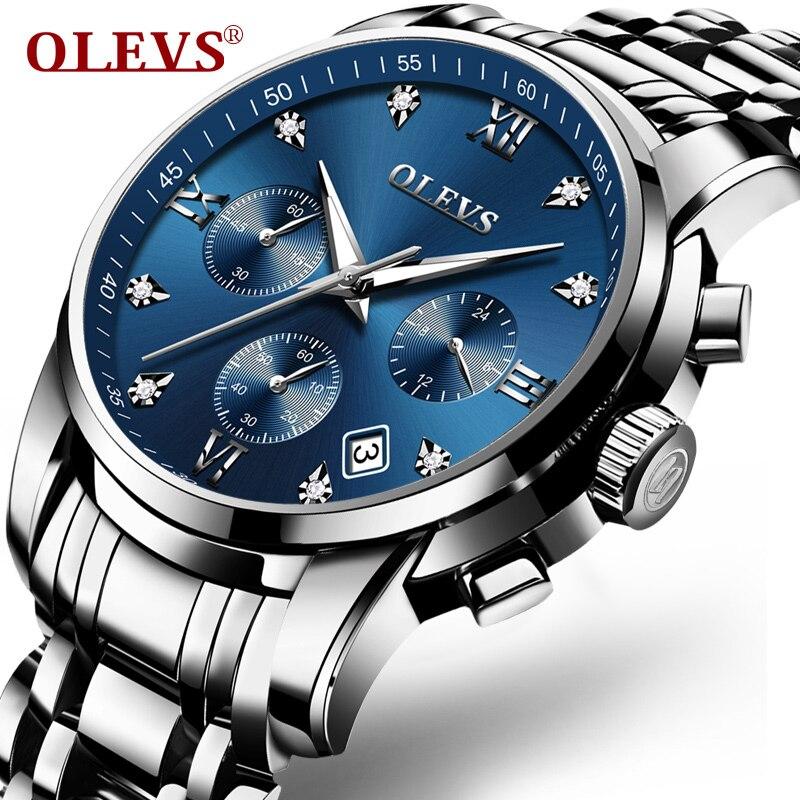 b81dba46c9f Nuevos relojes de marca de lujo OLEVS hombre relojes impermeable completo  acero cuarzo hombres reloj Relogio