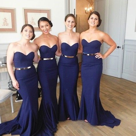 Navy Blue Mermaid   Bridesmaid     Dresses   2019 robe demoiselle d'honneur Sweetheart Maid Of Honor   Dress   Custom Wedding Party Gowns