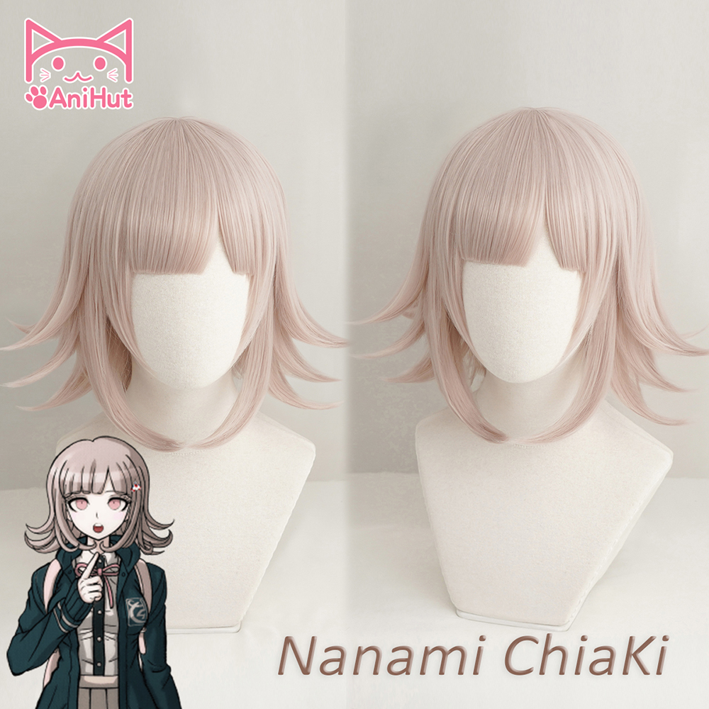 AniHut NANAMI CHIAKI Wig Super Danganronpa Cosplay Wig Anime Cosplay Hair Synthetic Heat Resistant Women Hair