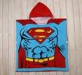 60 X 60 CM dos desenhos animados Superman Batman com capuz toalha 8 crianças meninos meninas crianças roupão de banho infantil toalha de banho toalhas de praia