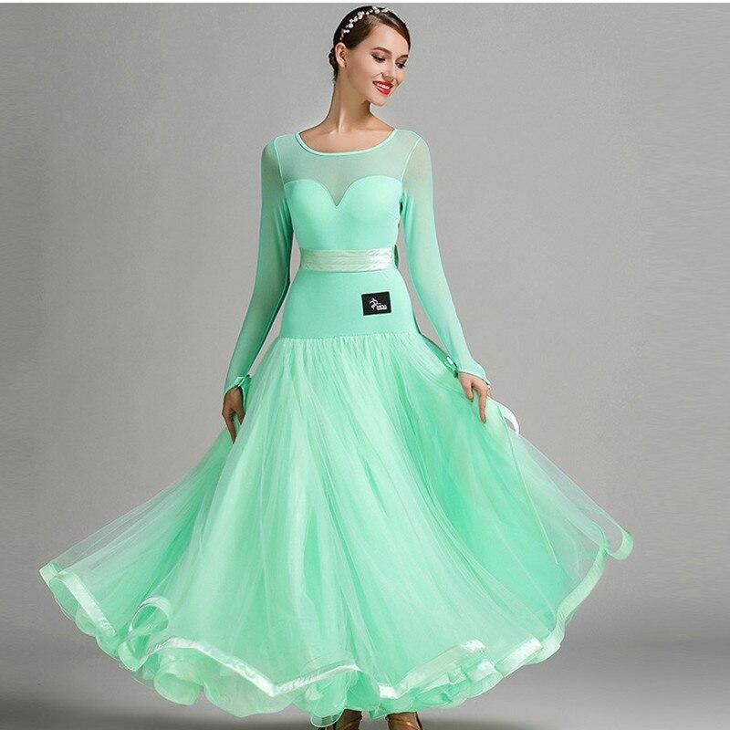 Ballroom Competition Dress Standard Ballroom Dresses Waltz Dance Costumes Foxtort Dance Dress Standard Green Dance Wear Women