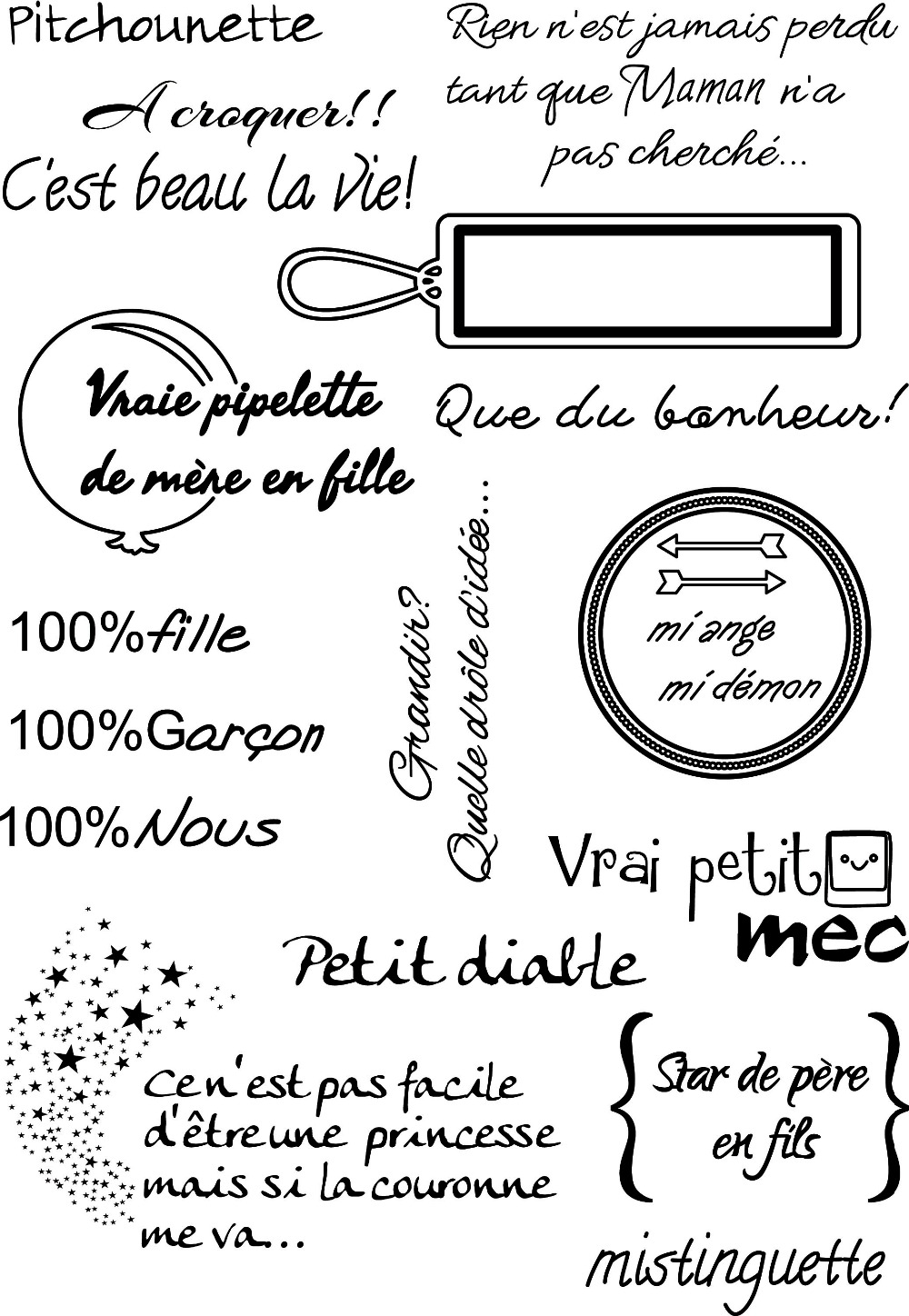 french common words transparent clear silicone stamp  seal for diy scrapbooking  photo album