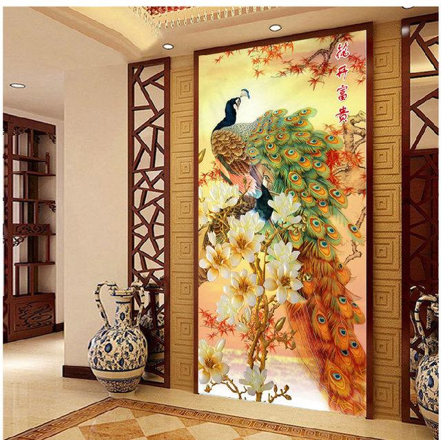 [Super deals]120*65cm Needlework,DIY Cross stitch,Embroidery kit,Gold Fortune peace bird print pattern peacock CrossStitch decor