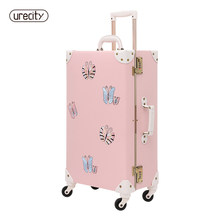 2018 NEW travel luggage bag brand suitcase leather digital luggage scale butterfly brand children suitcase spinner free shipping(China)
