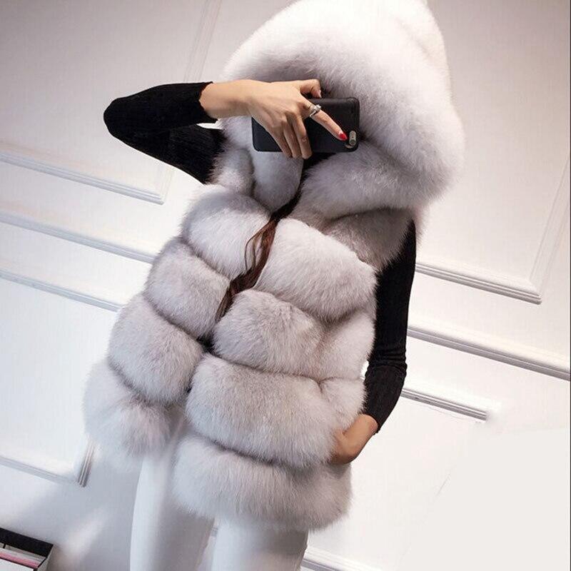 Nouveau chaud fausse fourrure de renard à capuche manteau femmes hiver de luxe fausse fourrure gilet manteaux femme sans manches veste manteau vison manteau S-3XL