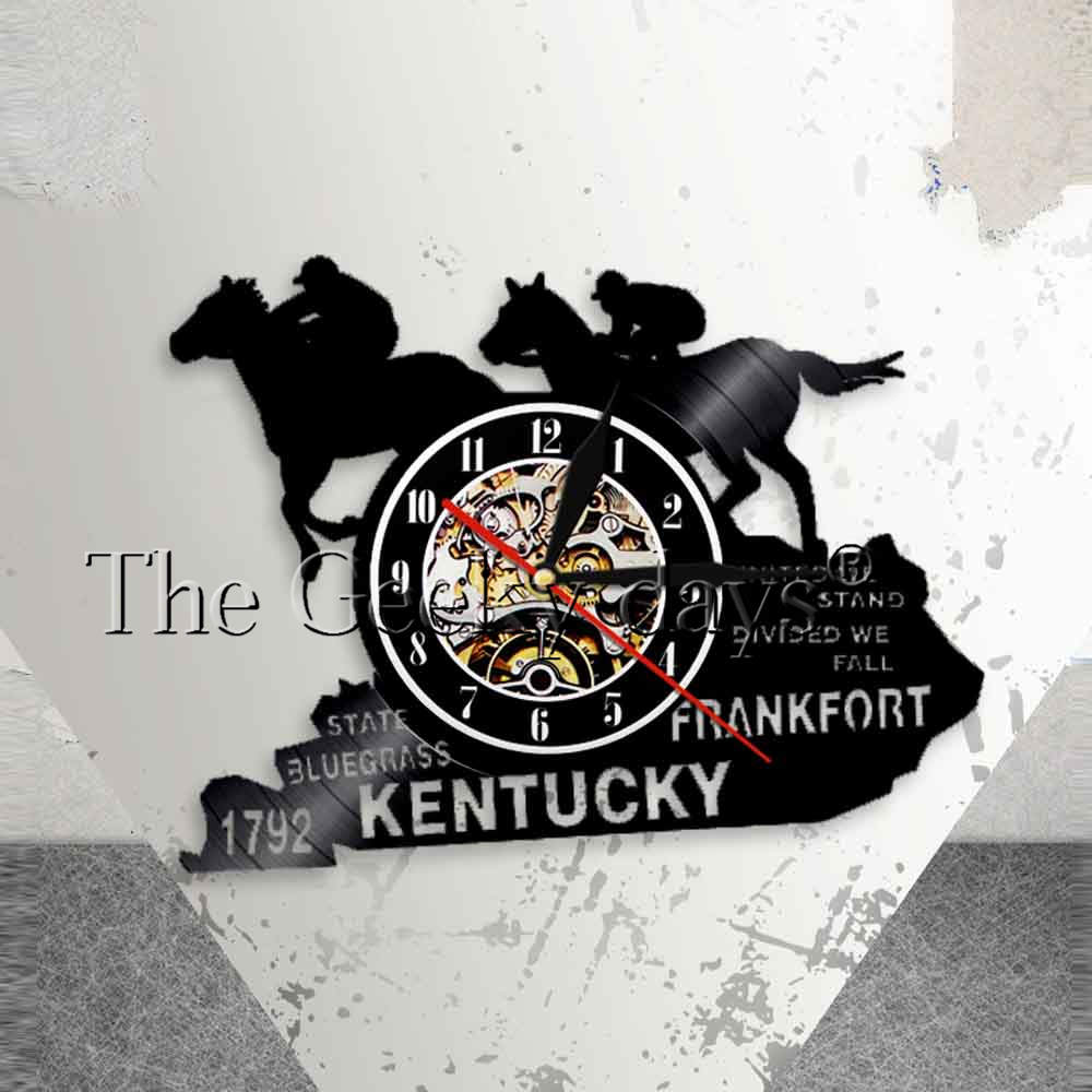 Equestrianism Wall Art Wall Clock Racing Horses Vinyl Record Wall Clock Kentucky Horse State Churchhill Downs Derby Party Decor