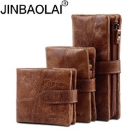 JINBAOLAI Genuine Crazy Horse Cowhide Leather Men Wallets Coin Purse ID Card Holder Vintage Brown Long