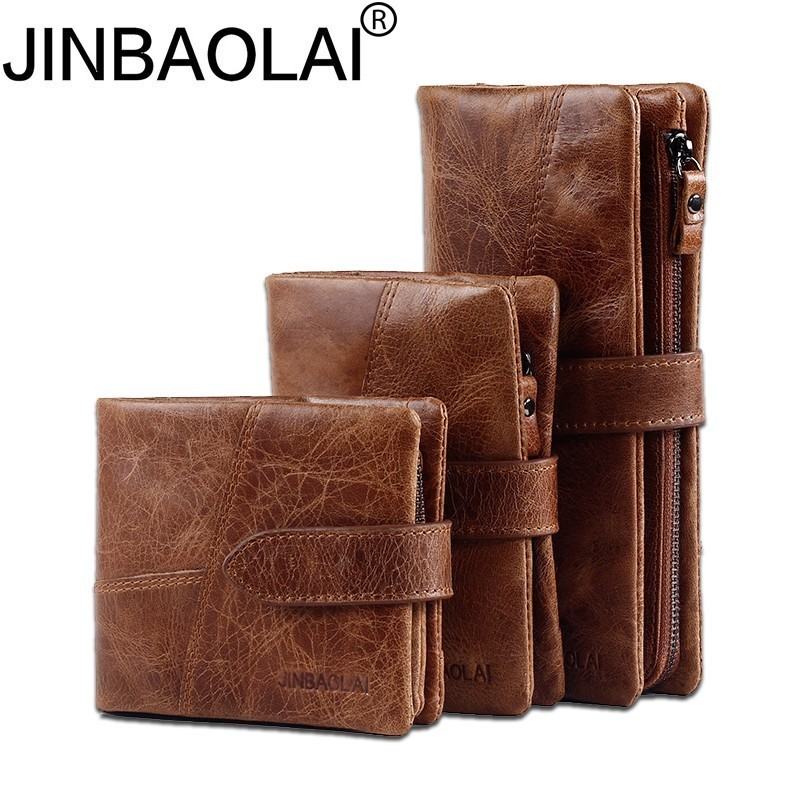 JINBAOLAI Genuine Crazy Horse Cowhide Leather Men Wallets Coin Purse ID Card Holder Vintage Brown Long Wallet Clutch Wrist Bags crazy horse leather billfolds wallet card holder leather card case for men 8056r 1