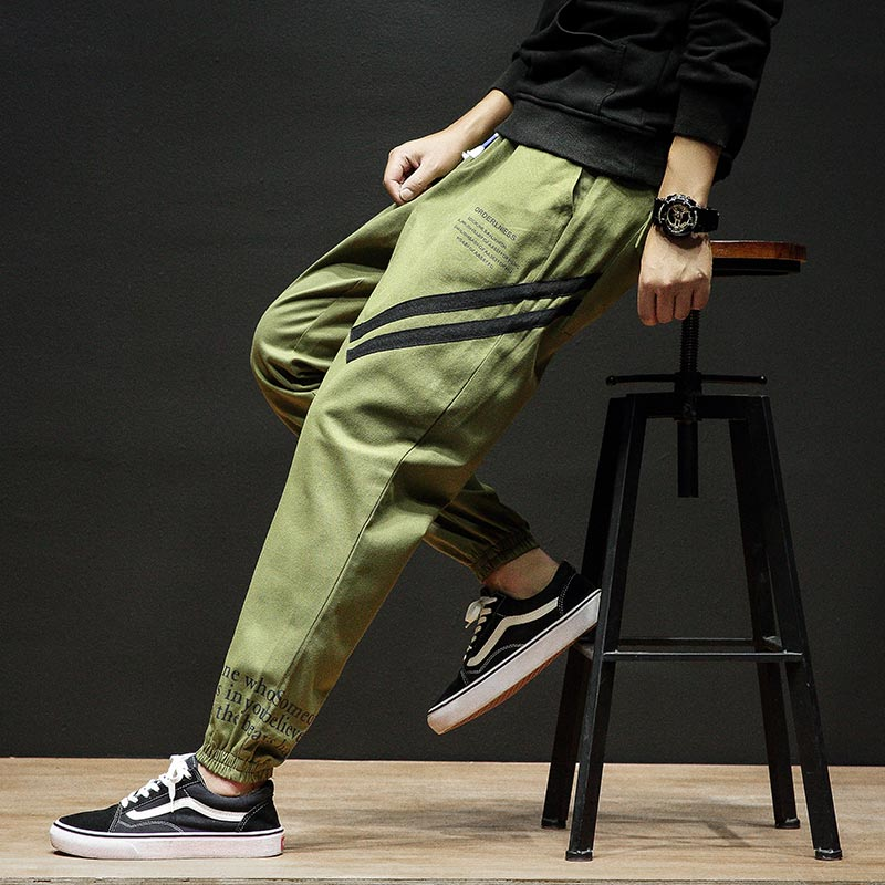 Black Pants High Quality Plus Size M 5XL Sweatpant Casual Cotton Pants Fashion Men Hip Pop Printing Letter Side Pockets Trouser