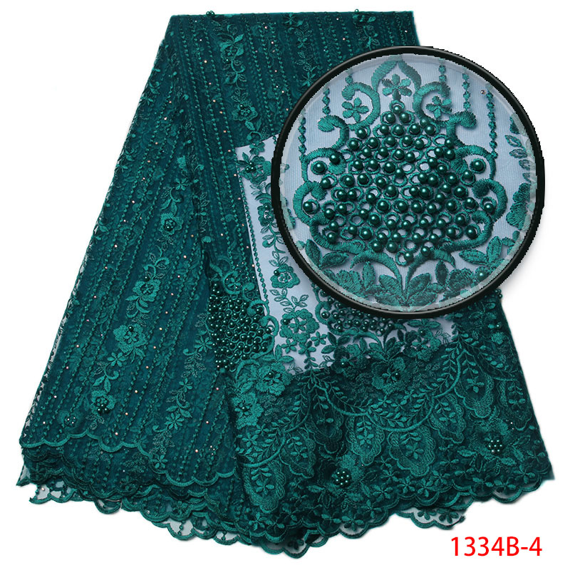 New French Lace Fabric Dark Green African Net Fabric With Beads Nigeria Tulle Mesh Wedding Party