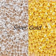 200 pcs Crimp Finais Beads Colar Pulseira Fit Descobertas de Prata de Ouro Dia 2/2. 5/3/3.5/4mm Stopper Spacer Contas Para Fazer Jóias