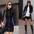 2016 nova moda das mulheres longas jaquetas mulher sexy slim fit casacos novidade com zíper longsleeve plus size outwear preto sm,L Xl, Xxl, Xxxl