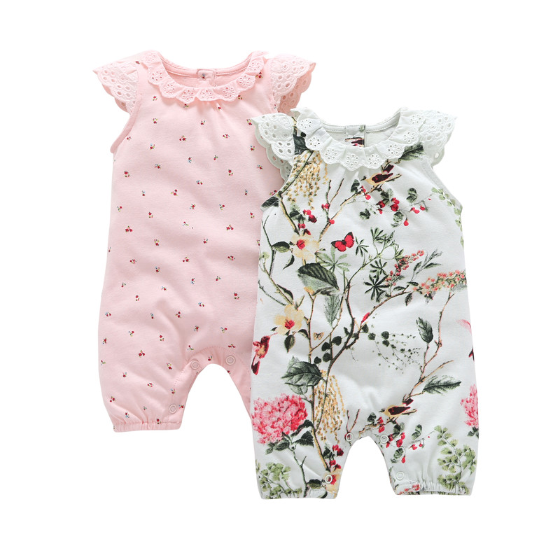 2018 Special Offer Promotion Baby Girls Floral O-neck Summer Baby Sleeveless Set Cotton Lady 2 Sets Of Infant Newborn Clothes grey lace details floral print v neck sleeveless pajamas sets