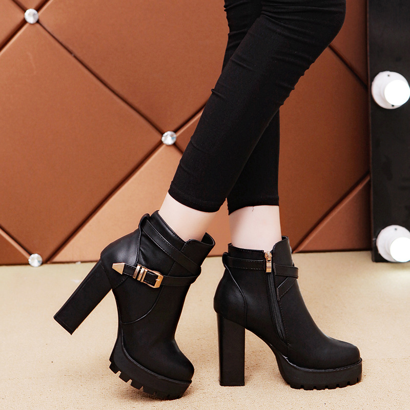 HIZCINTH 2017 Winter Boots Women Martin Boots Thick Heel Side Zipper Platform Black Female Short Boots High Heels Ankle Booties martin new winter with thick british style short canister female fall side zipper boots
