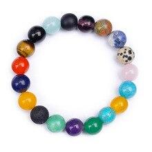 SA SILVERAGE Energy Stone Bracelet for Men Women Strand 10mm Natural Agate Combination Beaded Hand-woven