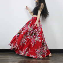 2016 Women spring and summer folk style Skirt Printing Long skirt Flower Beach National Style Elastic Waist Loose Skirts Fashion