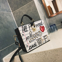 Fashion Luxury Love and Queen Colorful Graffiti Pearl Women Shoulder Bags High Quality Female Multifunction PU Leather Handbags