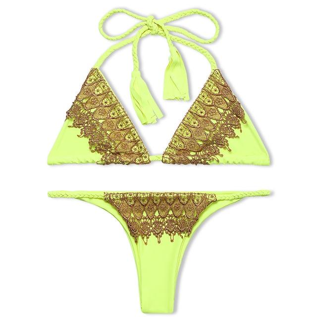 suittop Lace Bikini 2018 Sexy Halter Brazilian Bikini Set Swimsuit Light Yellow Women Swimwear Thong Biquini Triangle Bikinis
