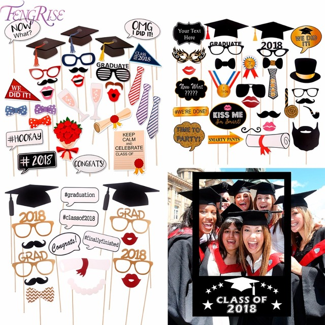fengrise graduation 2018 photo booth props gown hat graduation party