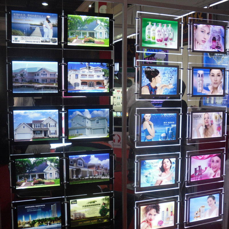 (5unit/Column) A4 Single Sided Estate Agents LED Displays,LED Illuminated Pockets Portrait & Landscape Displays