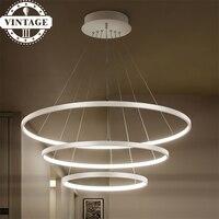 3 Circle Rings 40CM 60CM 80CM Simple Decorative Pendant Lights For Living Room Acrylic Aluminum Body