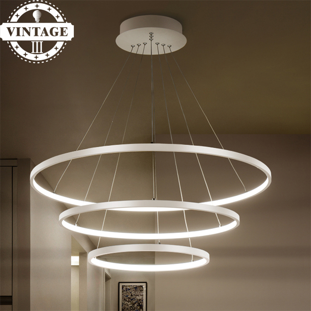 3 Circle Rings 40CM 60CM 80CM Simple Decorative Pendant Lights For Living  Room Acrylic Aluminum Body
