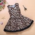 Леопарда девочки платье дети летние мода одежды платья маленькая девочка одежда D04X74