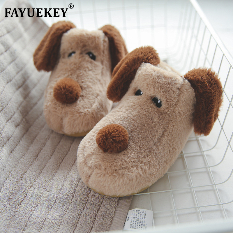 FAYUEKEY New Fashion Winter Soft Sole Home Cartoon Dog Cotton Slippers Women Indoor Floor Bedroom Men Lover Warm Slippers Shoes image