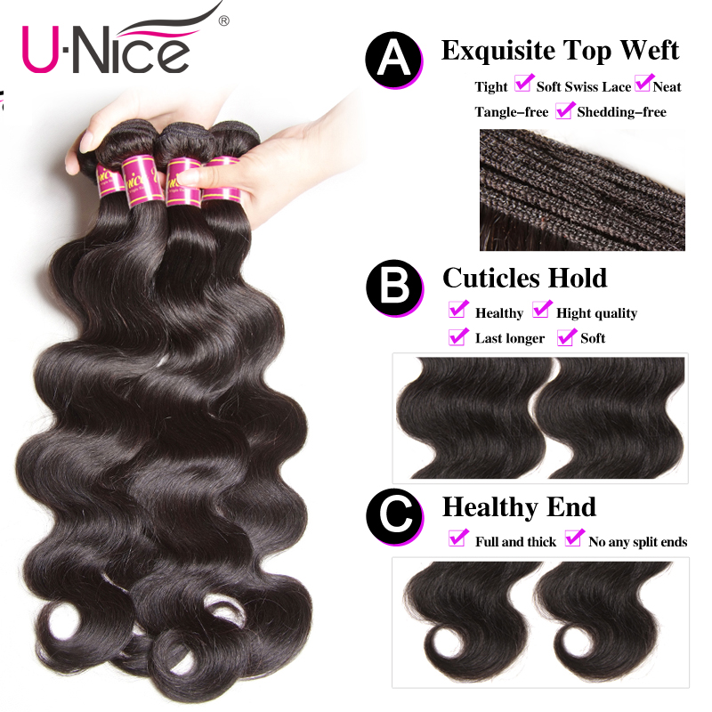 """UNICE Hair Brazilian Body Wave Remy Hair Bundles With Closure 4PCS Human Hair Bundles With Closure UNICE Hair Brazilian Body Wave Remy Hair Bundles With Closure 4PCS Human Hair Bundles With Closure 8-30 """"Remy Hair Extension"""