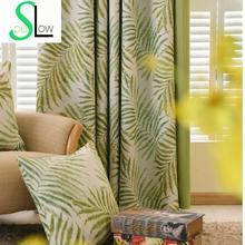 Moderne Vorhänge Für Wohnzimmer Grüne Blätter Gedruckt Seide wie Stoff Vorhänge Blackout Vorhänge Rideau Cortinas Kostenloser Versand 52