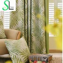 Modern Curtains For Living Room Green Leaves Printed Silk-like Fabric Drapes Blackout Curtains Rideau Cortinas Free Shipping 52(China)