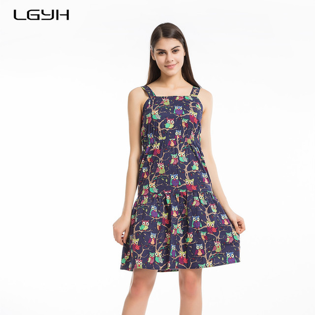 16f4b20337 LGYH 2017 Print Owl Summer Dress Women Spaghetti Strap Cotton Beach Dress  Boho Party Sexy Dresses Tube Top Vestidos