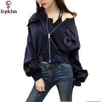 Women Jacket 2018 Autumn Coat Embroidery Flower Plus Size Baseball Jacket For Female Short Loose Lop Coats Bat Wing Sleeve CH422