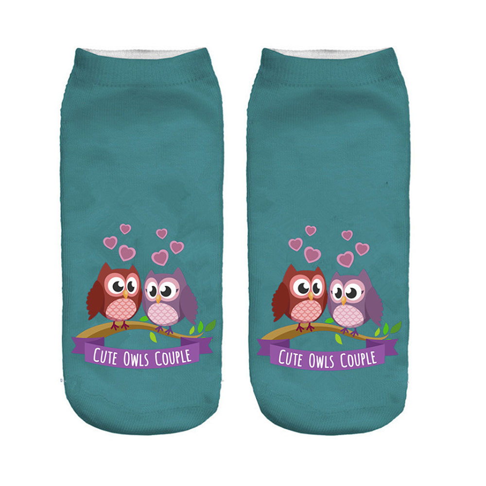 2019 New Funny 3d Print Socks Cute 3D Owl Calcetines Character Unisex Socks Hot Women Mujer Unisex Fashion Sox Cartoon Sox