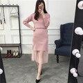 4xl más el tamaño grande de las mujeres juego de ropa de primavera otoño invierno 2017 lindo dulce clavo del grano del suéter de cintura alta faldas mujer A2699