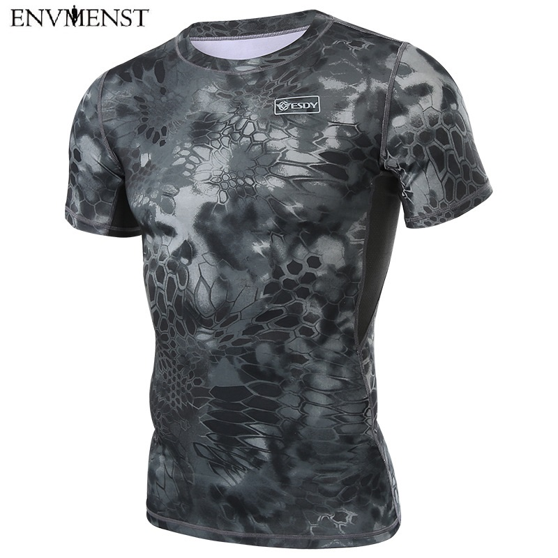 Envmenst 2017 Summer Hot Sale Men's Camouflage Tshirts With Short Sleeve Quick Dry T-shirts Python pattern Design Army Top Tees