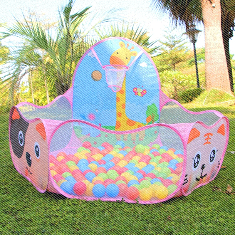 Cartoon Pink Folding Baby Play Ball Pool Portable Toy Tent Hexagon Kids Playpen Ball Pit Outdoor Children Carry Tote Toys p322