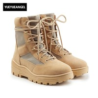 New Fashion Military Mens Lace Up Desert Boots Thick Platform Genuine Leather Army Tactical Ankle Boots Motor Biker Martin Shoes