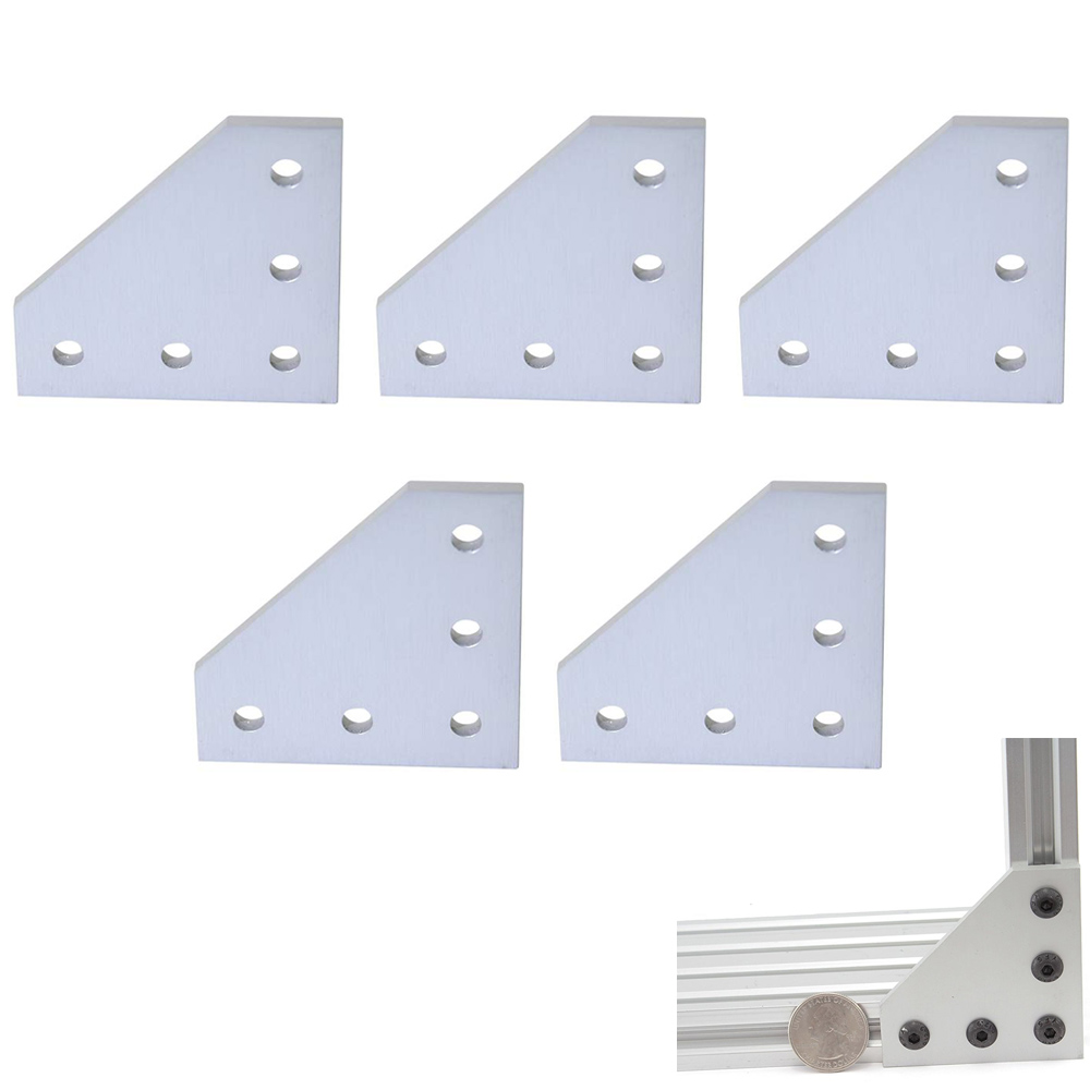 5pcs/lot 3D Printer Aluminum L Shaped 5 Hole 60x60x4mm Joining Plate For 2020 V-slot/L-slot Aluminum Extrusion