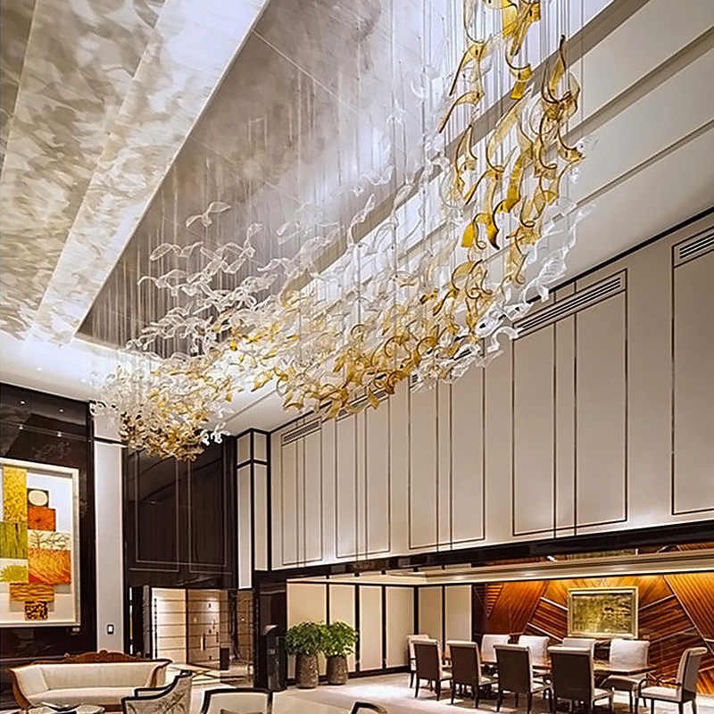 Large hotel lobby glass chandelier hotel sales department restaurant creative twisted leaf shape non-standard engineering lights