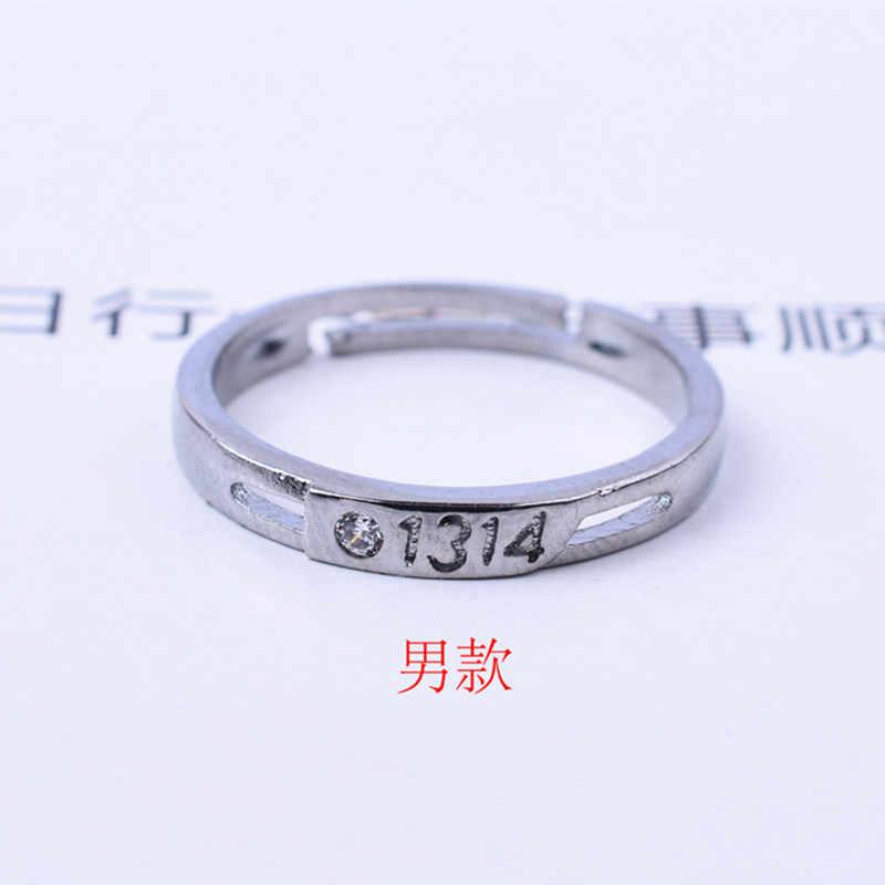 """חדש אופנה כסף מצופה חתונה אירוסין טבעות לגבר אישה מספר """"1314"""" זוג טבעת קריסטל תכשיטי חתונה להקות מתנות"""