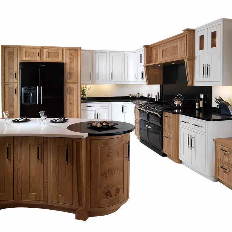 Solid Wood Waterproof Kitchen Cabinet With Island Design
