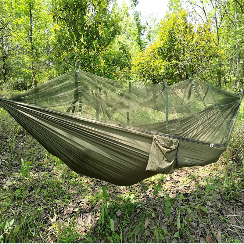 Outdoor C&ing Parachute Hammock Mosquito Net Flyknit Double Leisure Sleeping Hanging Chair Tent Travel Survival Army Green -in Hammocks from Furniture on ... & Outdoor Camping Parachute Hammock Mosquito Net Flyknit Double ...