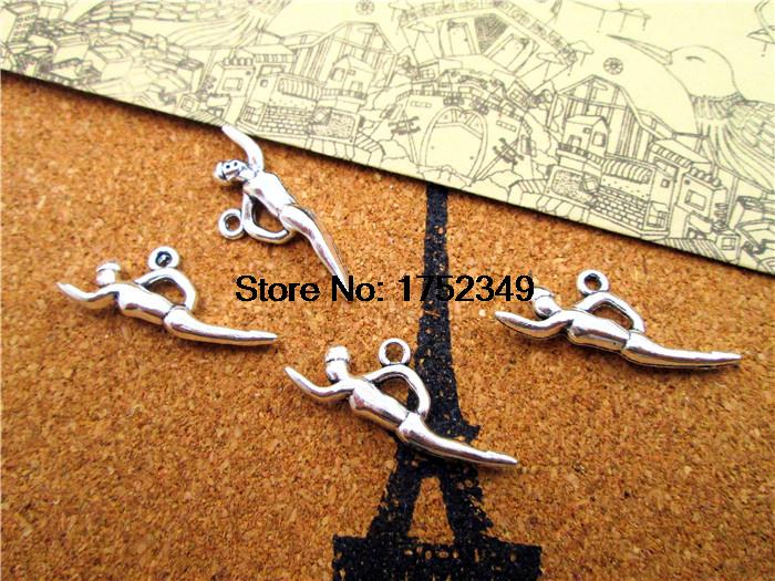 20pcs--Swimming Charms, Antique Tibetan Silver 3D Swimmer charm pendants, Sports charms 30x11mm