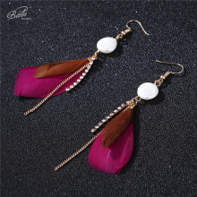 Badu White Feather Earring Women Long Drop Dangle Freshwater Pearl Earrings Golden Chain Tassel Fashion Jewelry
