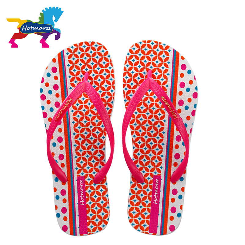 72611a37561b Hotmarzz Women Flip Flops Beach Slippers 2017 Geometric Print Summer  Slippers Flat Slides Slip On Sandals