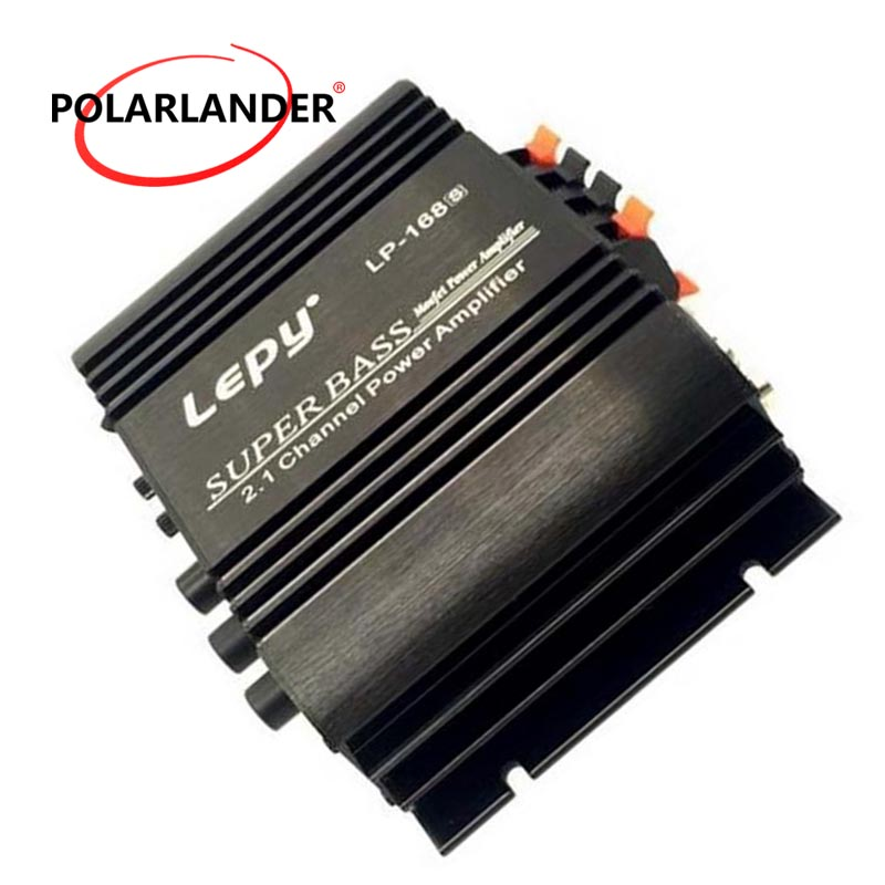 LP-168S 2 Channel Home 12V Small Car Amplifier Auto Audio Power Subwoofer Bass Output Stereo Sound WithAUX Function Loudspeaker