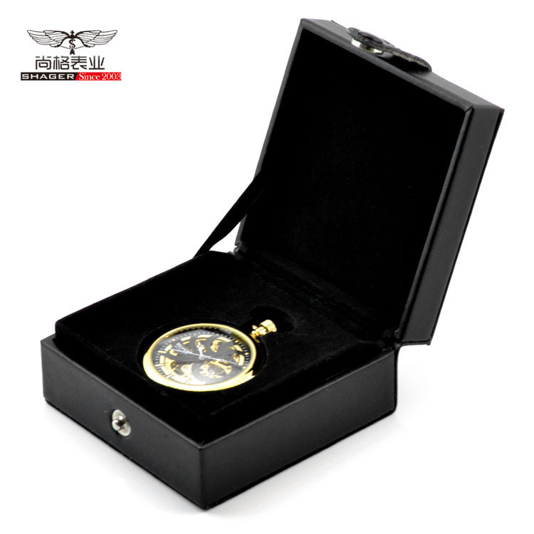 Elegant-Organizer-Gift-Box-Foam-Pad-Black-Leather-Hight-Quality-Pocket-Watch-Box-Storage (1)